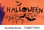 halloween glitter on orange... | Shutterstock . vector #728877454