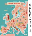 europe travel map poster.... | Shutterstock .eps vector #728879398