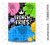 french fries colorful cafe... | Shutterstock .eps vector #728881954