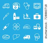 healthcare icons set. set of 16 ... | Shutterstock .eps vector #728883718