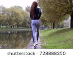 young woman jogging in autumn... | Shutterstock . vector #728888350