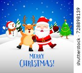 funny christmas characters... | Shutterstock .eps vector #728898139