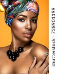 beautiful woman colorful... | Shutterstock . vector #728901199