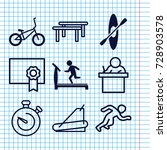 set of 9 training filled and... | Shutterstock .eps vector #728903578