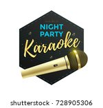 karaoke party label or icon... | Shutterstock .eps vector #728905306