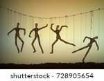 many marionette in different... | Shutterstock .eps vector #728905654