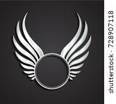 3d silver winged circle label | Shutterstock .eps vector #728907118