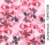 watercolor flowers seamless...   Shutterstock . vector #728907208