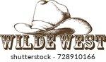 cowboy hat. vector illustration   Shutterstock .eps vector #728910166