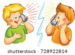 two boys talking on the mobile... | Shutterstock .eps vector #728922814