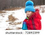 girl in a blue hat and red... | Shutterstock . vector #72892399