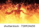 a woman demon burns in a... | Shutterstock . vector #728924650