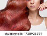beautiful pink haired girl in... | Shutterstock . vector #728928934