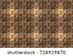 flowers on beige  orange and... | Shutterstock . vector #728929870