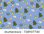 christmas pattern on blue...   Shutterstock . vector #728937730