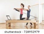 pilates lesson on reformer ... | Shutterstock . vector #728952979