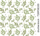 branches and leafs pattern | Shutterstock .eps vector #728958100