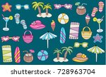 beach  vacation  and recreation ... | Shutterstock .eps vector #728963704