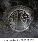 Ancient Gothic Gate In A Dark...