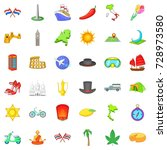 travelling icons set. cartoon... | Shutterstock . vector #728973580