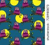 seamless pattern with birds.... | Shutterstock .eps vector #728980873