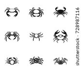 crab icons set. simple set of 9 ... | Shutterstock . vector #728987116