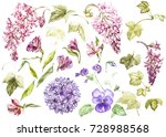 big set watercolor collection... | Shutterstock . vector #728988568