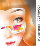 the girl's face in colored... | Shutterstock . vector #728989024