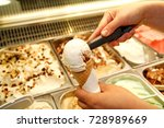 female hand with scoop takes... | Shutterstock . vector #728989669