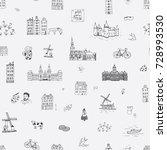 amsterdam holland city doodle... | Shutterstock . vector #728993530