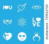 romance icons set. set of 9... | Shutterstock .eps vector #729012724