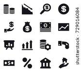 16 vector icon set   coin stack ... | Shutterstock .eps vector #729016084