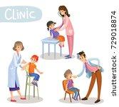 set of working pediatrician... | Shutterstock .eps vector #729018874