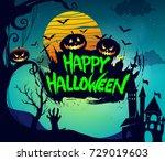 happy halloween poster  night...   Shutterstock .eps vector #729019603