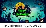 happy halloween poster  night...   Shutterstock .eps vector #729019633