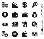 16 vector icon set   coin stack ... | Shutterstock .eps vector #729028510