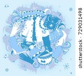hand drawn winter clothes and... | Shutterstock .eps vector #729031498