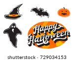 happy halloween collection   3d ... | Shutterstock .eps vector #729034153
