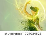 a person in virtual glasses... | Shutterstock . vector #729034528