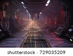 Sci-Fi grunge damaged metallic corridor background illuminated with neon lights 3d render