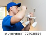 electrician at work  ... | Shutterstock . vector #729035899