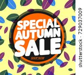 special autumn sale  banner... | Shutterstock .eps vector #729037009