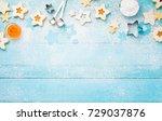 christmas linzer cookies border ... | Shutterstock . vector #729037876