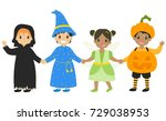 happy boys and girls wearing... | Shutterstock .eps vector #729038953