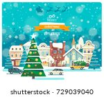 merry christmas and happy new... | Shutterstock .eps vector #729039040
