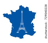 icon of eiffel tower and map of ... | Shutterstock .eps vector #729040228