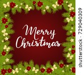 merry christmas card on blue... | Shutterstock .eps vector #729040309
