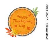 pumpkin autumn orange pie with... | Shutterstock .eps vector #729041500