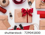 christmas gift boxes wrapped in ... | Shutterstock . vector #729041830