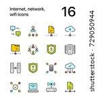 colored internet  network  wifi ... | Shutterstock .eps vector #729050944